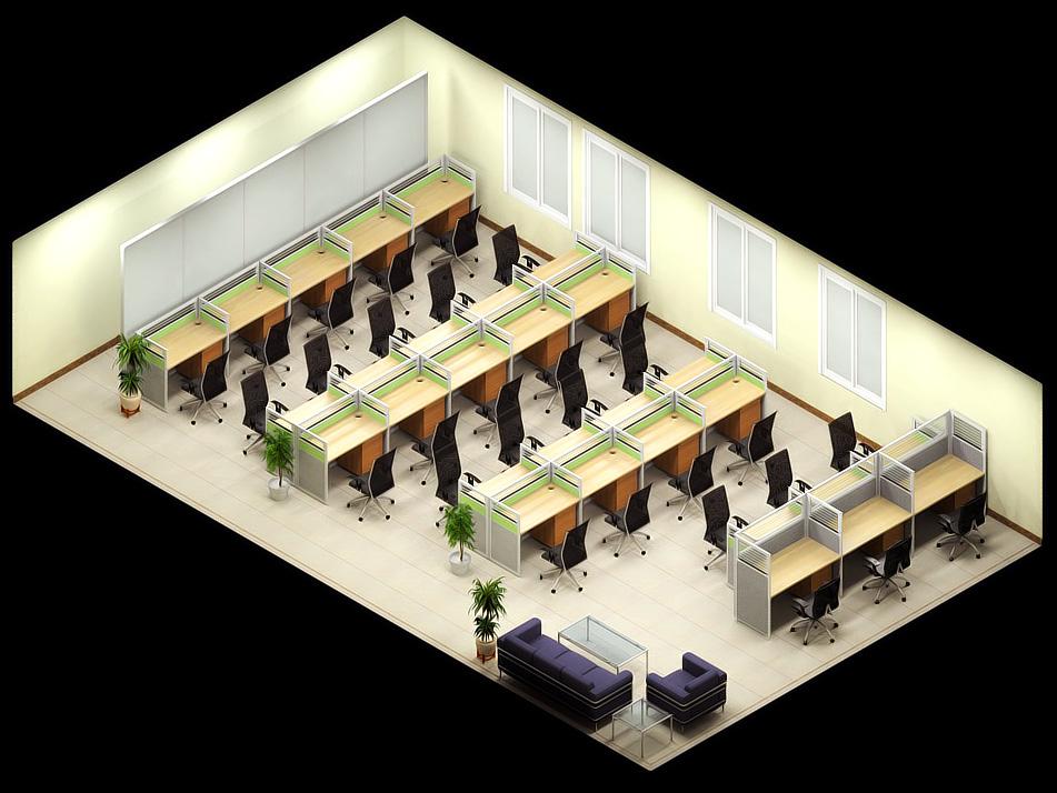 青岛办公家具效果图